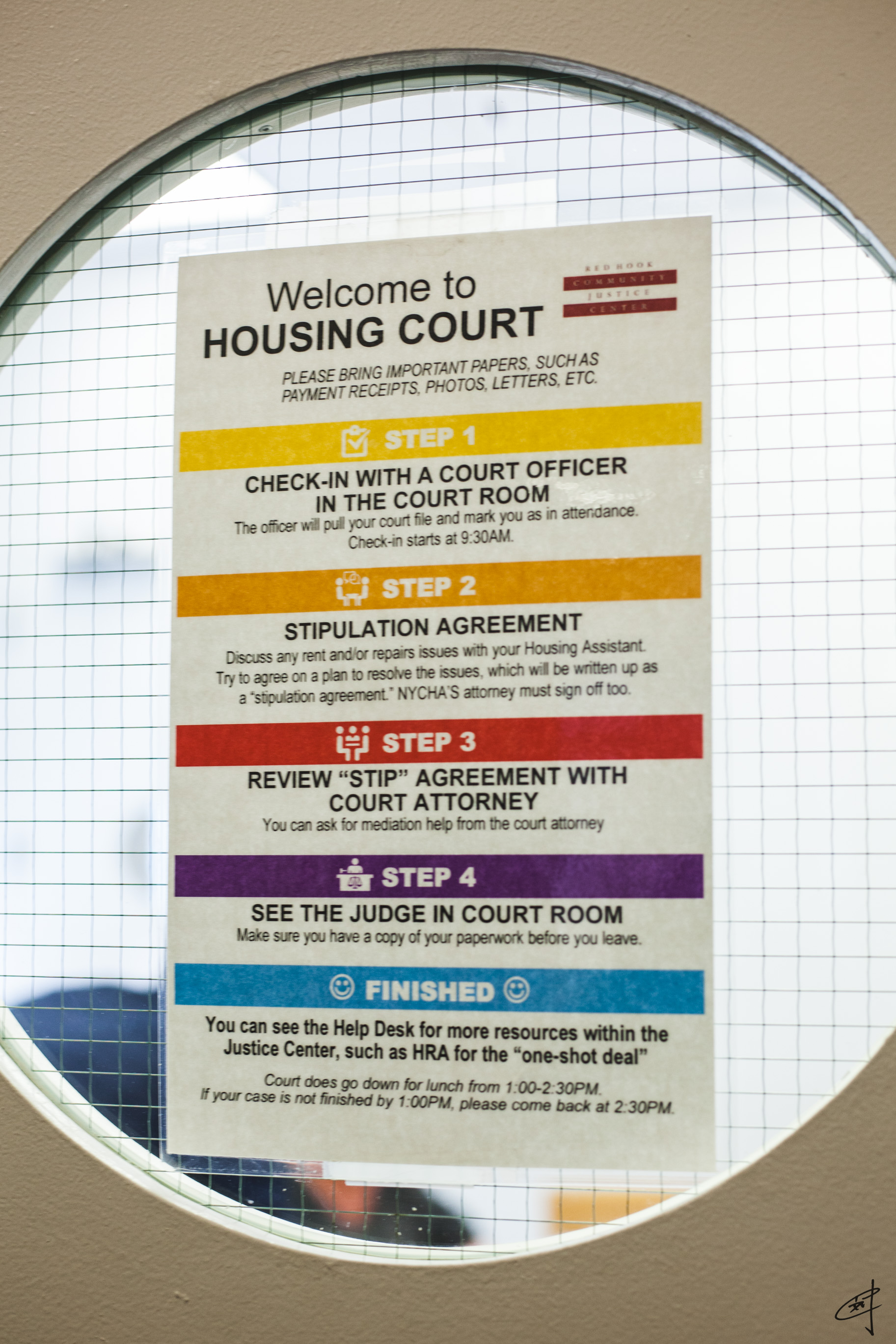 The five steps of housing court at RHCJC.