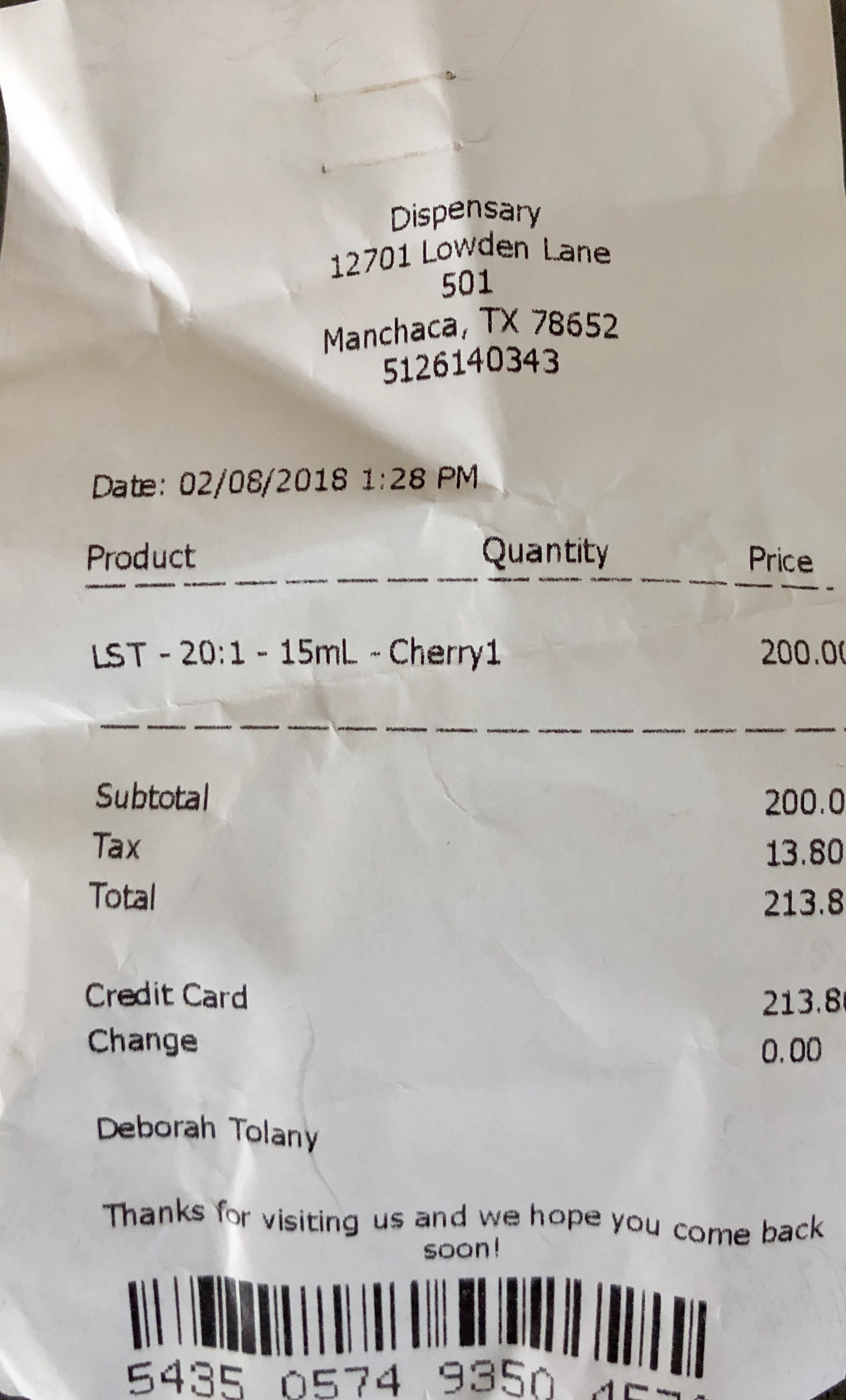 First purchase made in a Texas medicinal cannabis dispensary!