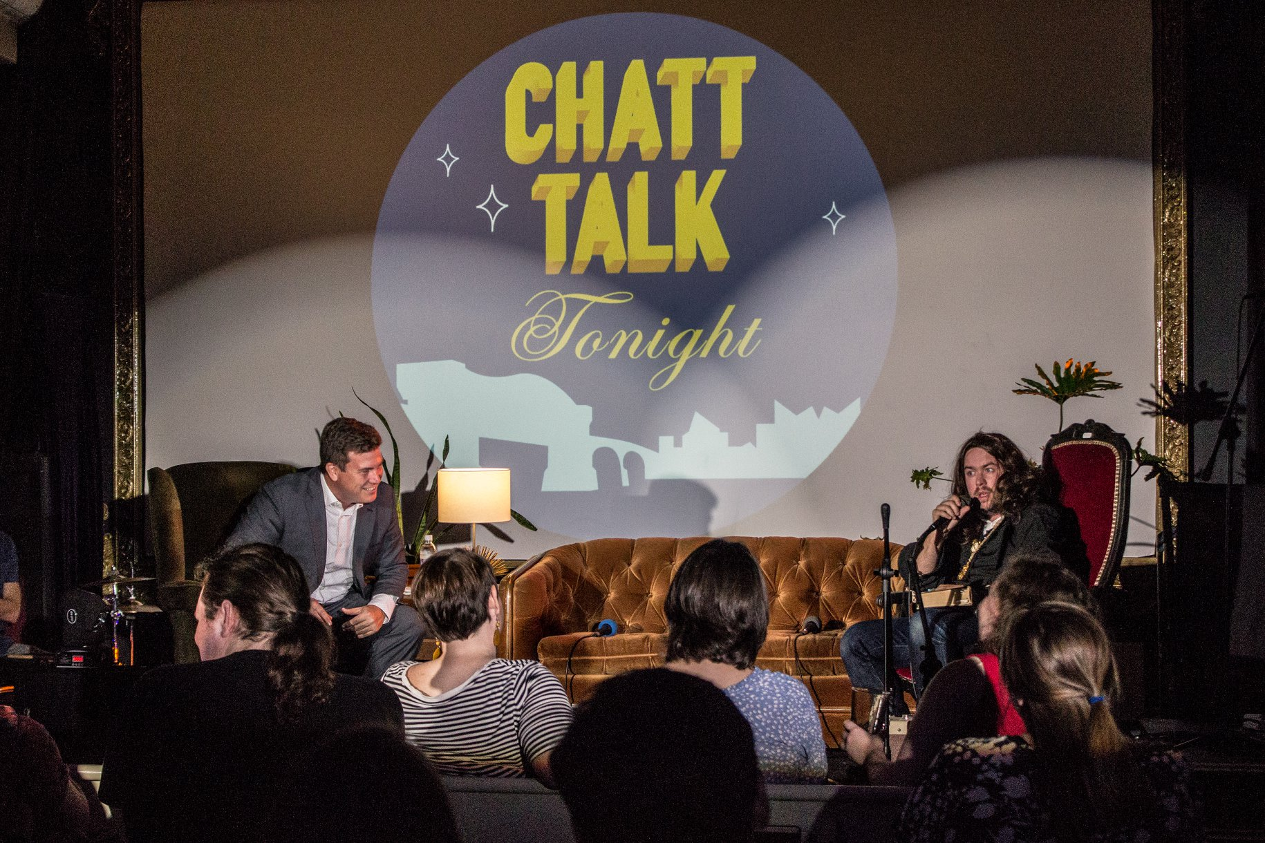 Donnie Marsh, host of Chatt Talk Tonight giggles at one of his time traveling guests.