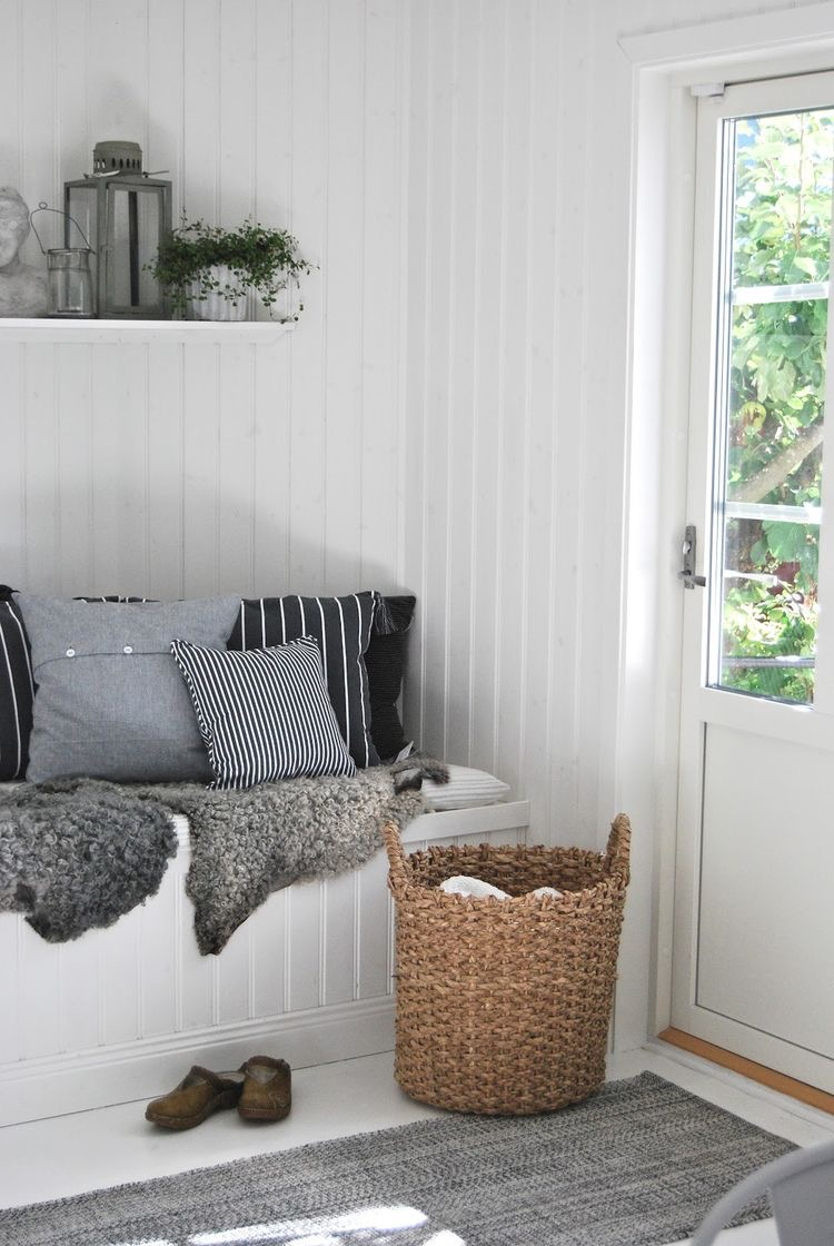 Photo Source: Pinterest via tvasmarum.blogspot.se  I love the simplicity of this space. I also can't resist pillows or stripes, lets alone stripes ON pillows! Throw in a sheepskin or two, add a basket and a cotton runner and you can call it a day as far as I'm concerned! These types of spaces are my favourite to decorate because I can usually get the look I'm going for just by #shoppingthefarm or #shoppingthehouse and pulling in odds and sods from elsewhere in the house (and maybe a Home Sense run!)