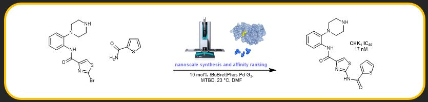 "Nathan J. Gesmundo, Bérengère Sauvagnat, Patrick Curran, Matthew P. Richards, Christine L. Andrews, Peter J. Dandliker, Tim Cernak*. ""Nanoscale Synthesis and Affinity Ranking"",  Nature ,  2018 ,  557 , 228—232.  [link]"