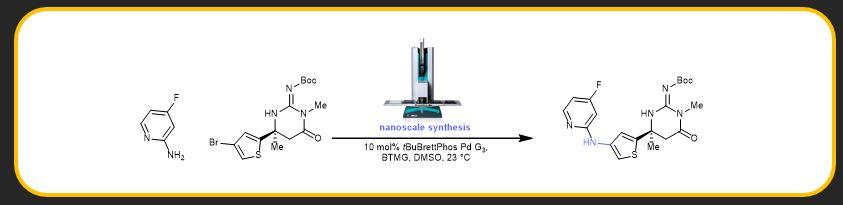"Alexander Buitrago Santanilla, Erik L. Regalado, Tony Pereira, Kevin Bateman, Louis-Charles Campeau, Simon Berritt, Yong Liu, Michael Shevlin, Zhi-Cai Shi, Jonathan Schneeweis, Christopher J. Welch, Roy Helmy, Petr Vachal, Ian Davies, Tim Cernak* and Spencer Dreher*. ""Nanomolar-Scale High-Throughput Chemistry for the Synthesis of Complex Molecules'"",  Science ,  2015 ,  347 (6217), 49—53.  [  link  ]"