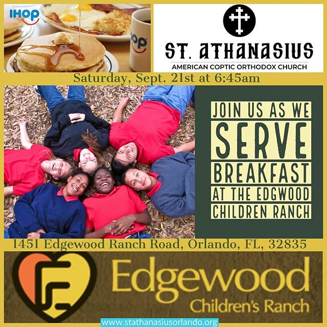 Community Service Announcement  Please join us this Saturday, Sept. 21st at 6:45am at the Edgewood Children's Ranch. We will be serving breakfast to the children and we need your help.  Hope you all can make it out to serve our community.  God bless.  #stathanasiusorlando #communityservice #edgewoodchildrenranch