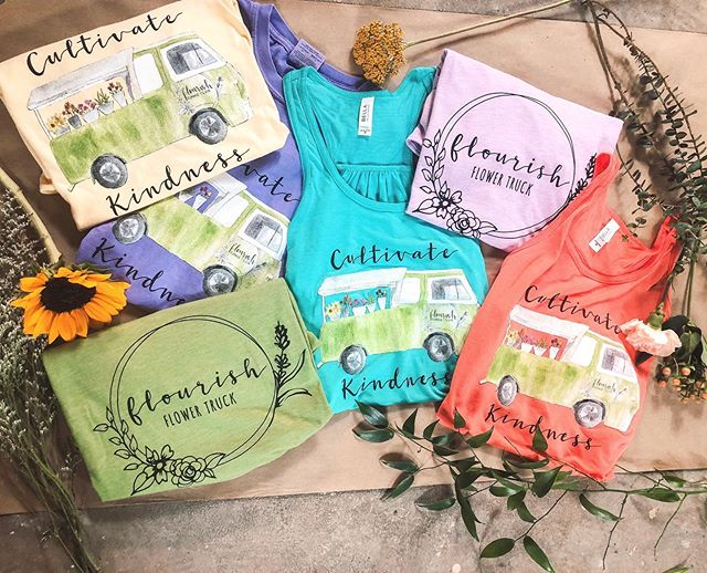 "✨ GIVEAWAY ✨ Our new shirts and tanks make their first appearance TOMORROW! To win one before they go on sale: 1. Tag three friends in the comments and let us know which color is your favorite! 2. Like this photo 3. Make sure you're following @flourishflowertruck  Winner will be chosen tomorrow morning so you get your first pick before their gone 🥰 . . We also want to share why we choose the phrase ""cultivating kindness"" this year. After much thought about the heart behind our business and all we want it to be, these two words seemed so fitting. We love the word cultivate so much because it embodies so many of the things we strive for. Our passion and motivation has always been to create a space where people can come and love themselves and those around them well. To be a place where kindness is found. We are so thankful for the ways the Knoxville community has helped us make this true about our business, so thank you to all of you that have been a part of our story so far 🥰"