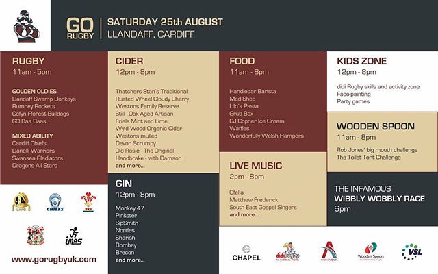 Your full schedule for this saturday's Cider and Music Festival!  #gorugby