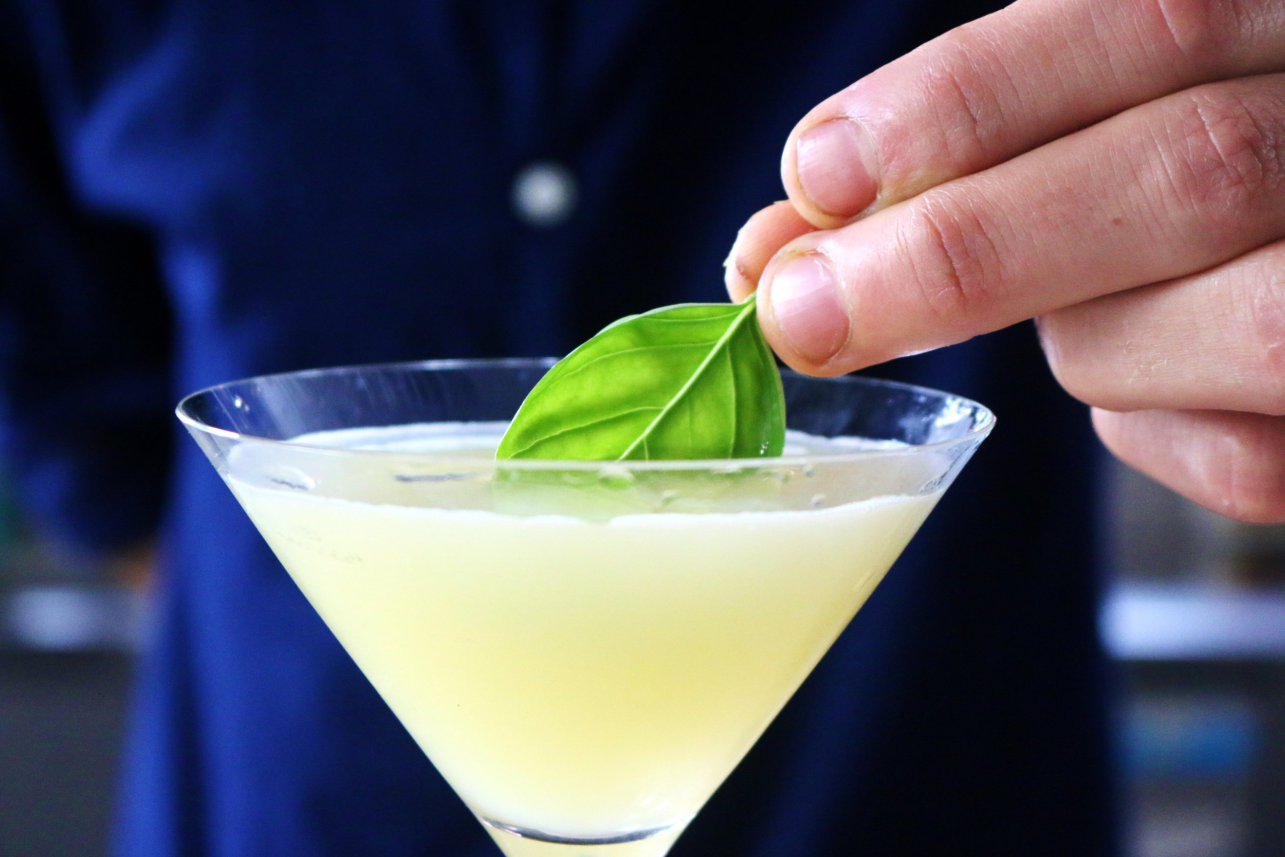 Catch cocktail - Yellow with Basil Leaf.JPG