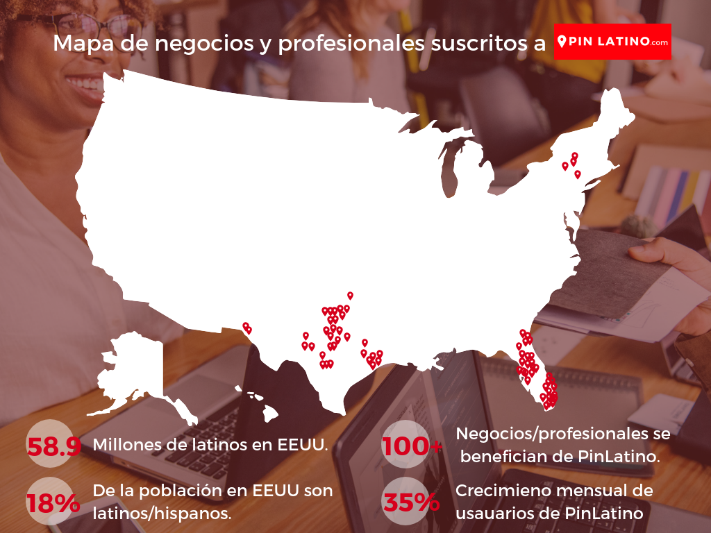Mapa de negocios y profesionales latinos en Estados Unidos.