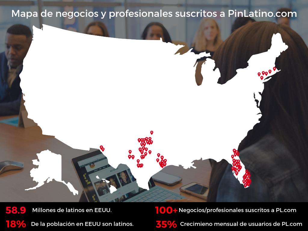 Mapa de negocios latinos en Estados Unidos