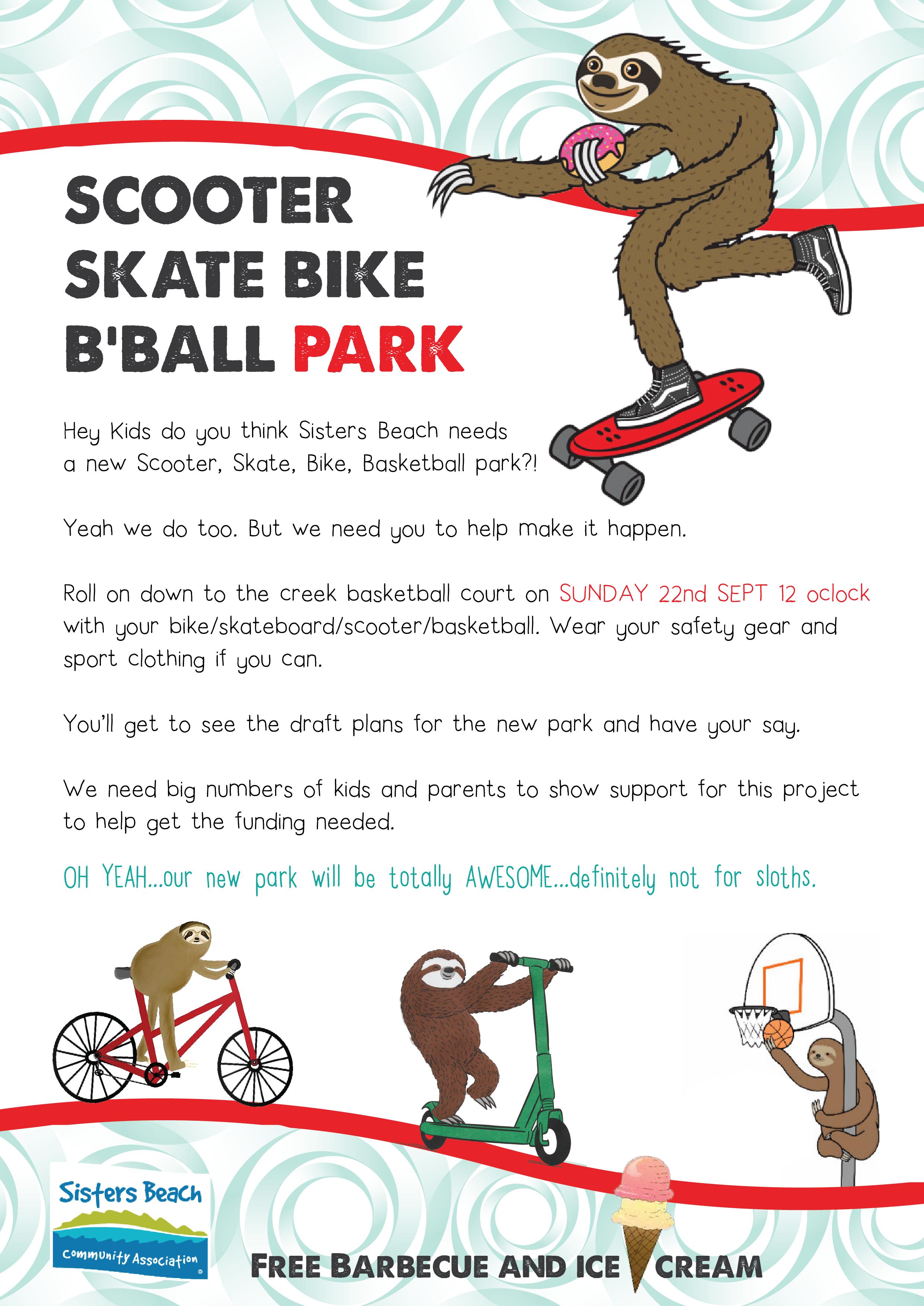 sisters beach scooter skate bike bball park