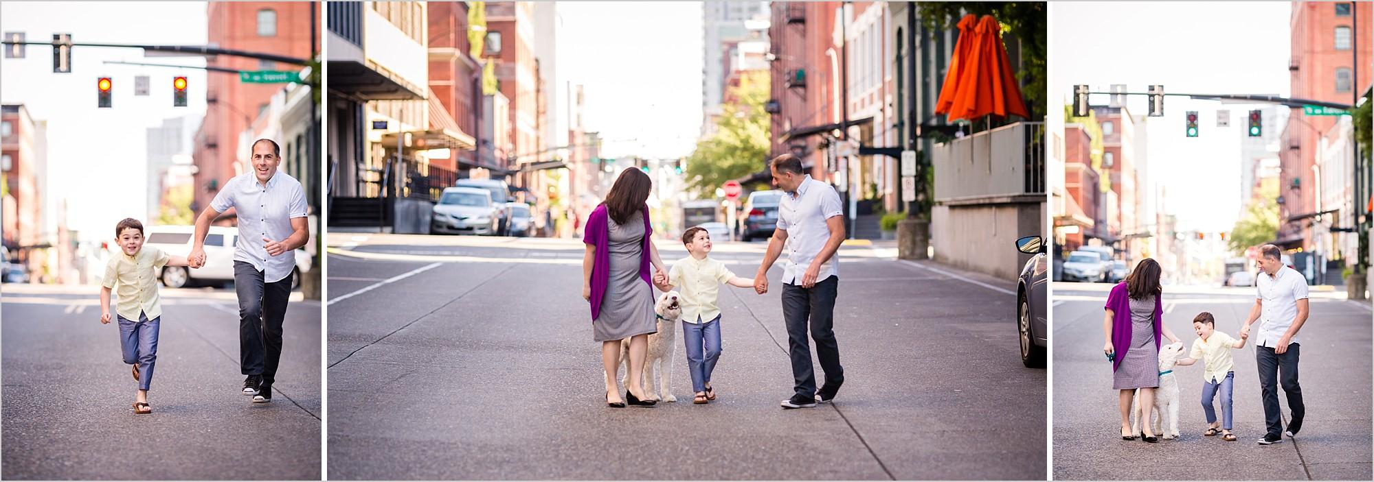 family having fun in downtown portland oregon on summer morning by rebecca hunnicutt farren