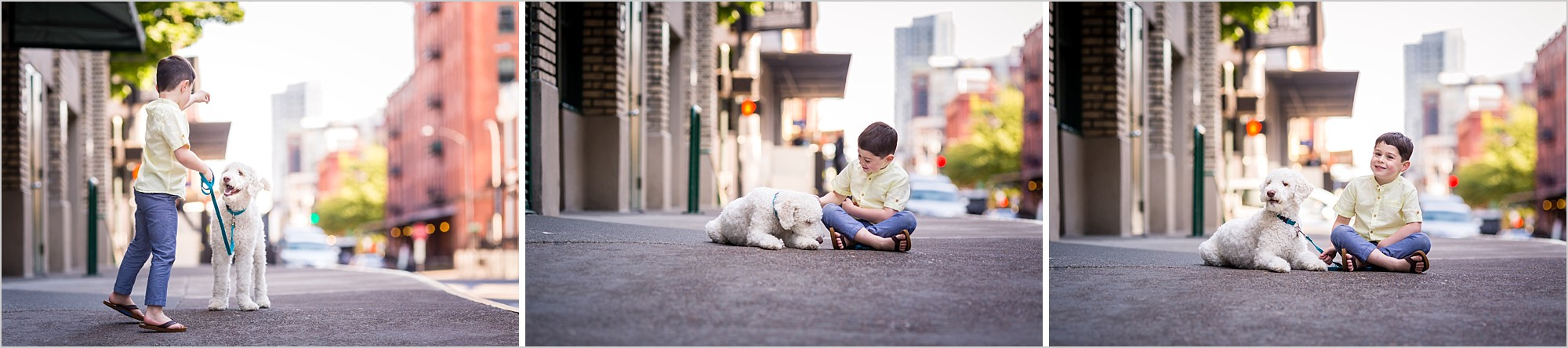 portraits of boy with his dog in portland oregon pearl district modern urban family lifestyle photos hunnicutt photography