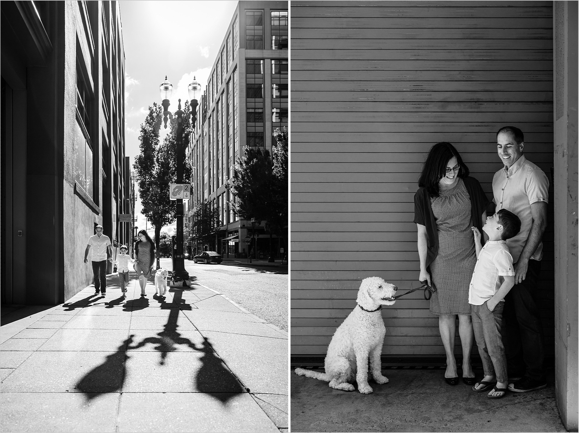 monochrome images of family enjoying their time in downtown portland oregon by hunnicutt photography