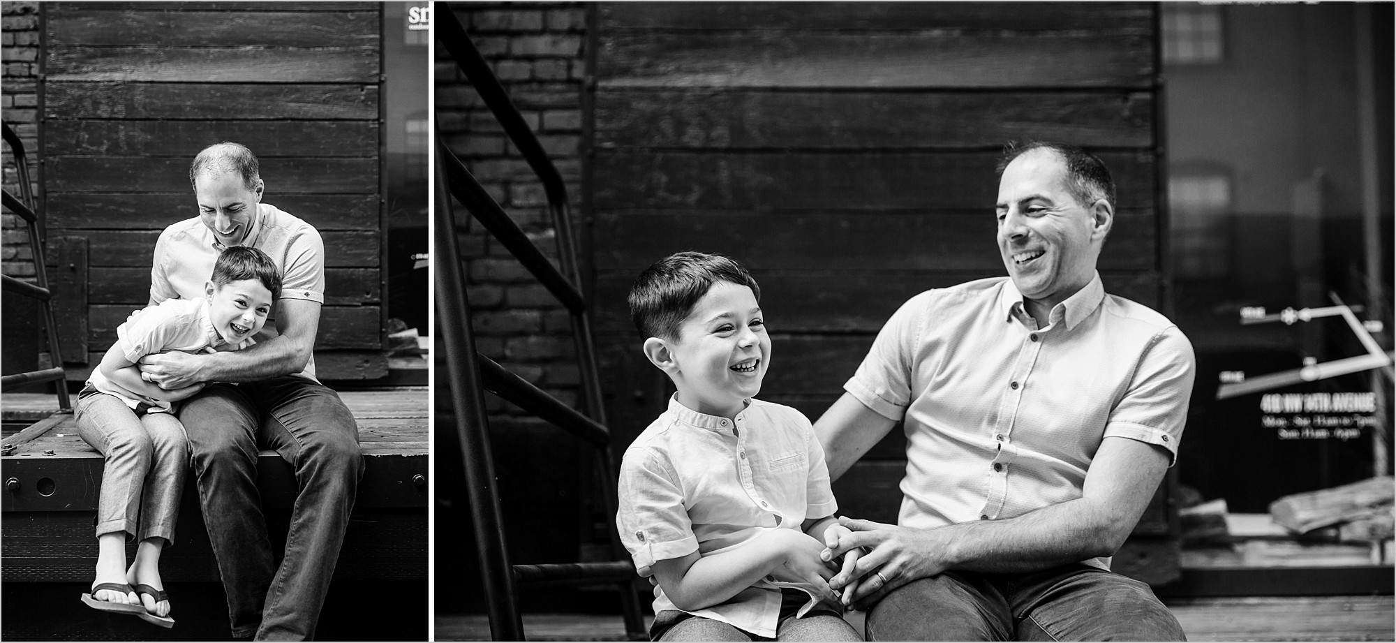 monochrome images of father and son laughing in the pearl district downtown portland oregon for modern urban family photos by hunnicutt photography.jpg