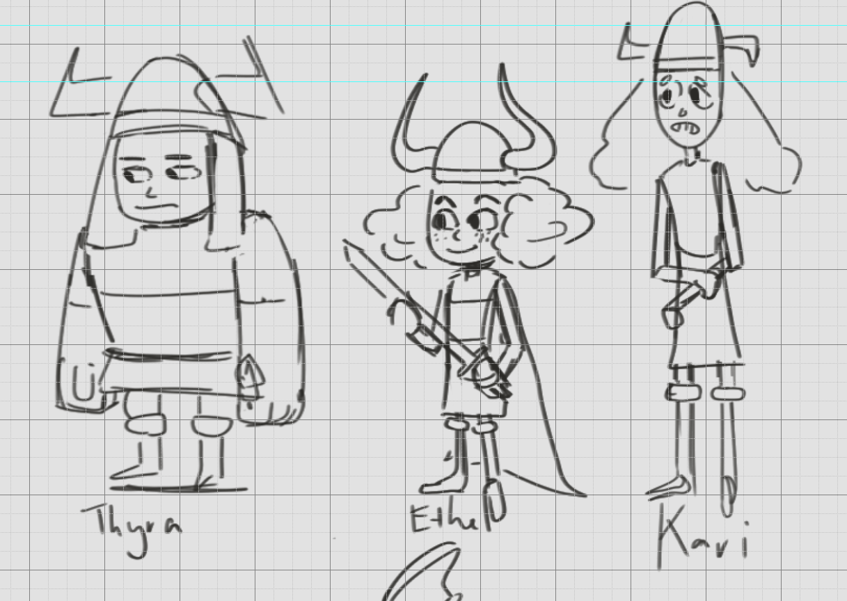 The designs I stuck to for Thyra, Ethel and Kira