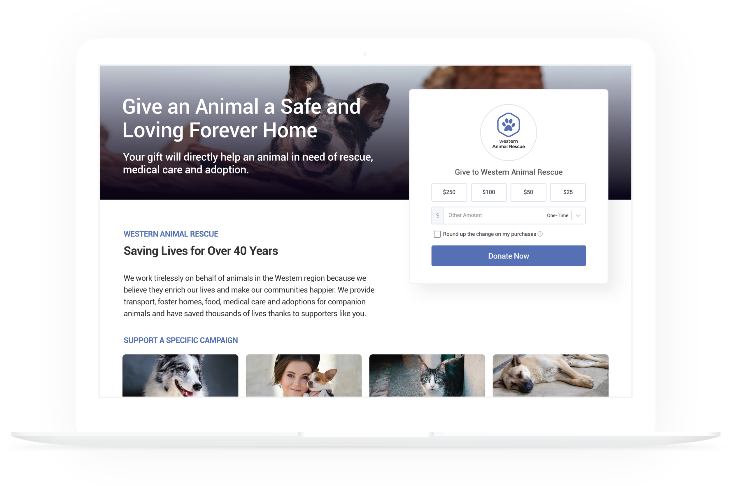 Tell Your Story and Grow Your Support - Launch giving pages for your nonprofit's unique fundraising efforts. Use the page as your primary website donation portal. Create pages based on specific fund designations.