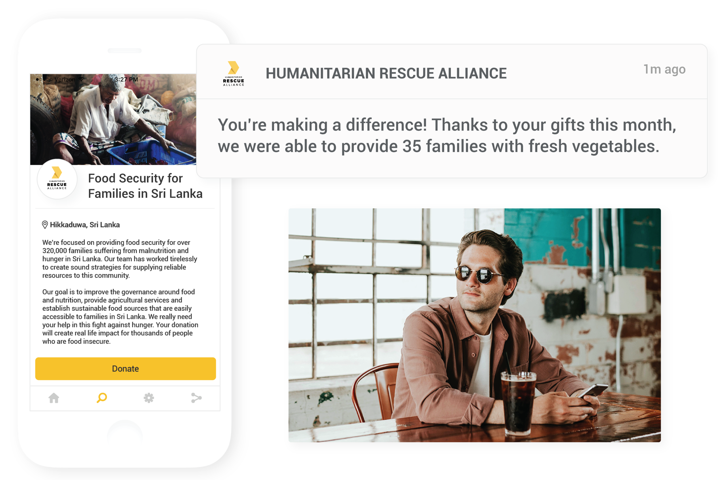 Deepen relationships - Cultivate relationships with mobile push notifications that are sent instantly or on a scheduled date. Provide transparency by delivering updates when contributions make an impact.