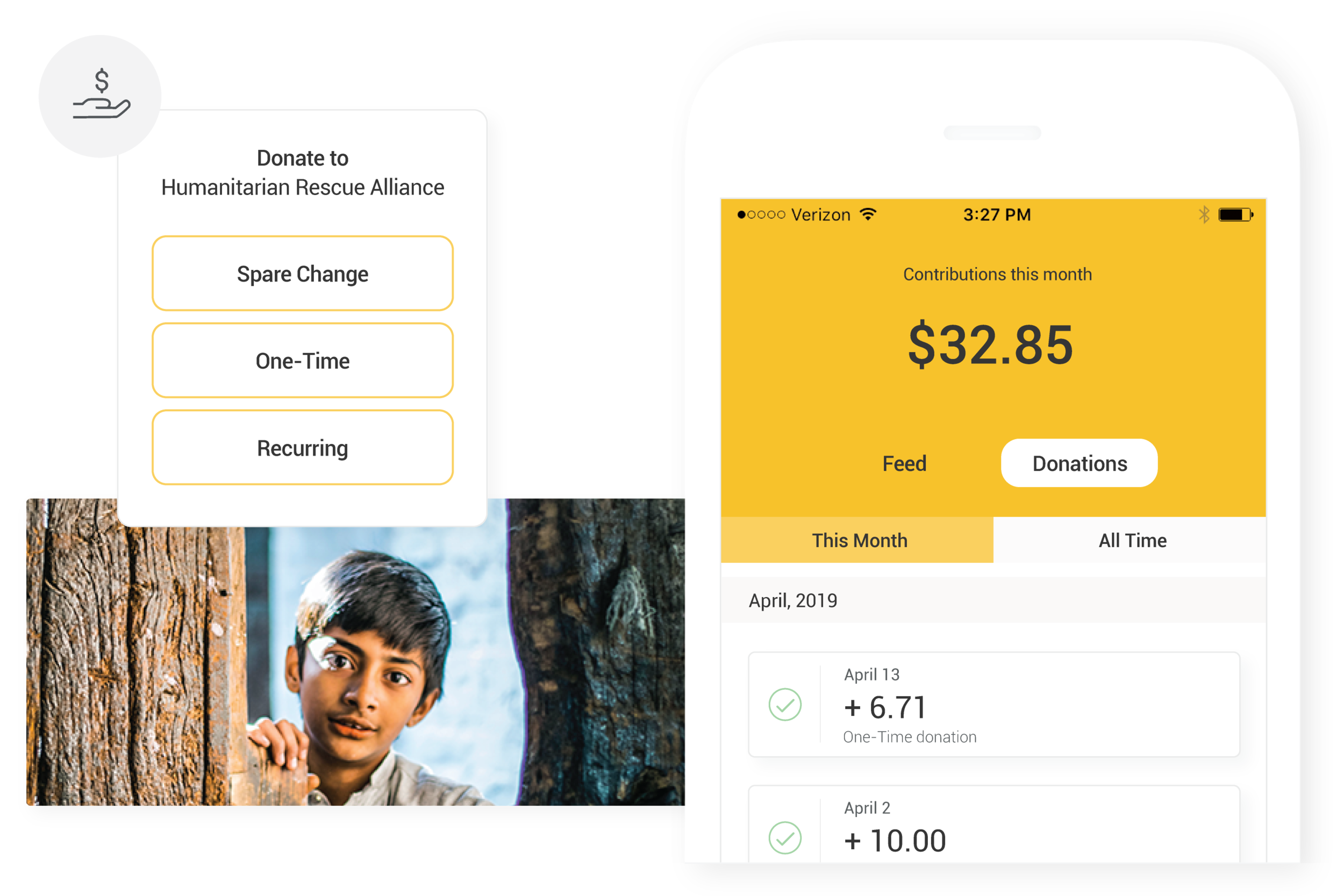 Collect mobile donations - Offer a unique experience with your own branded iOS and Android apps. Supporters can give one-time, recurring and spare change donations, review giving history and edit their payment settings.