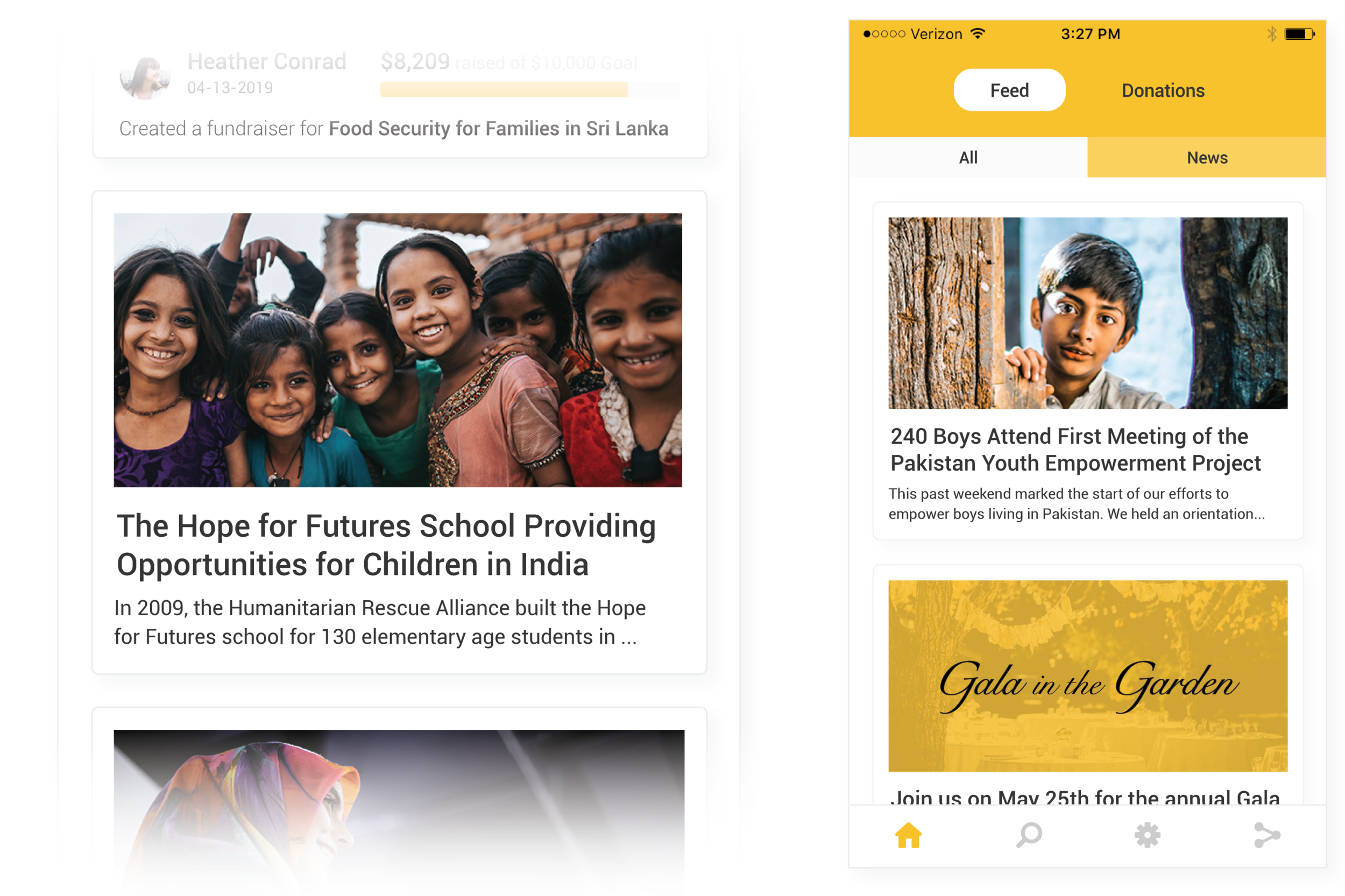 News worthy content - Keep supporters in the know with engaging content in the news feed of your app. Share events, campaign updates, impact stories and more.