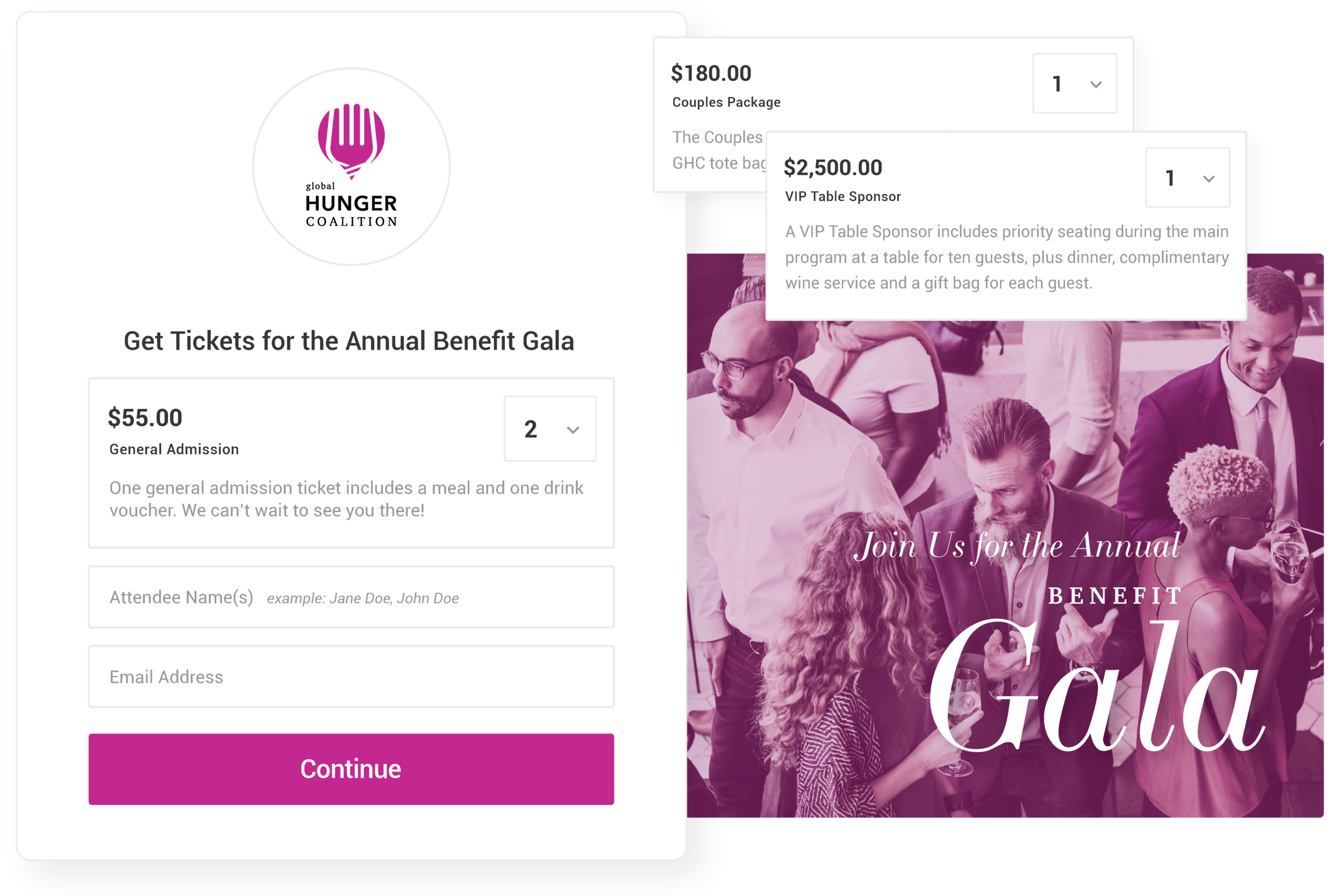 Online event ticketing - Create multiple ticket types and customize each with a name, description and price.
