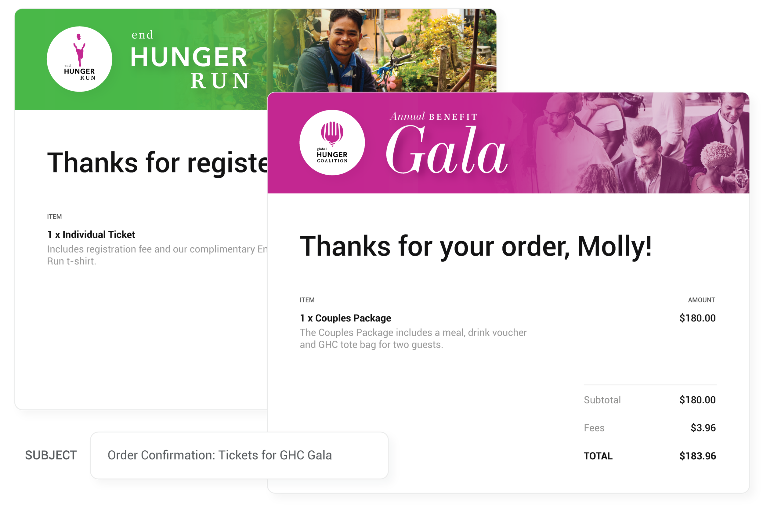 Automatic emails - Your guests will automatically receive an emailed receipt for their purchase. Customize the look to match your brand or event's unique design.