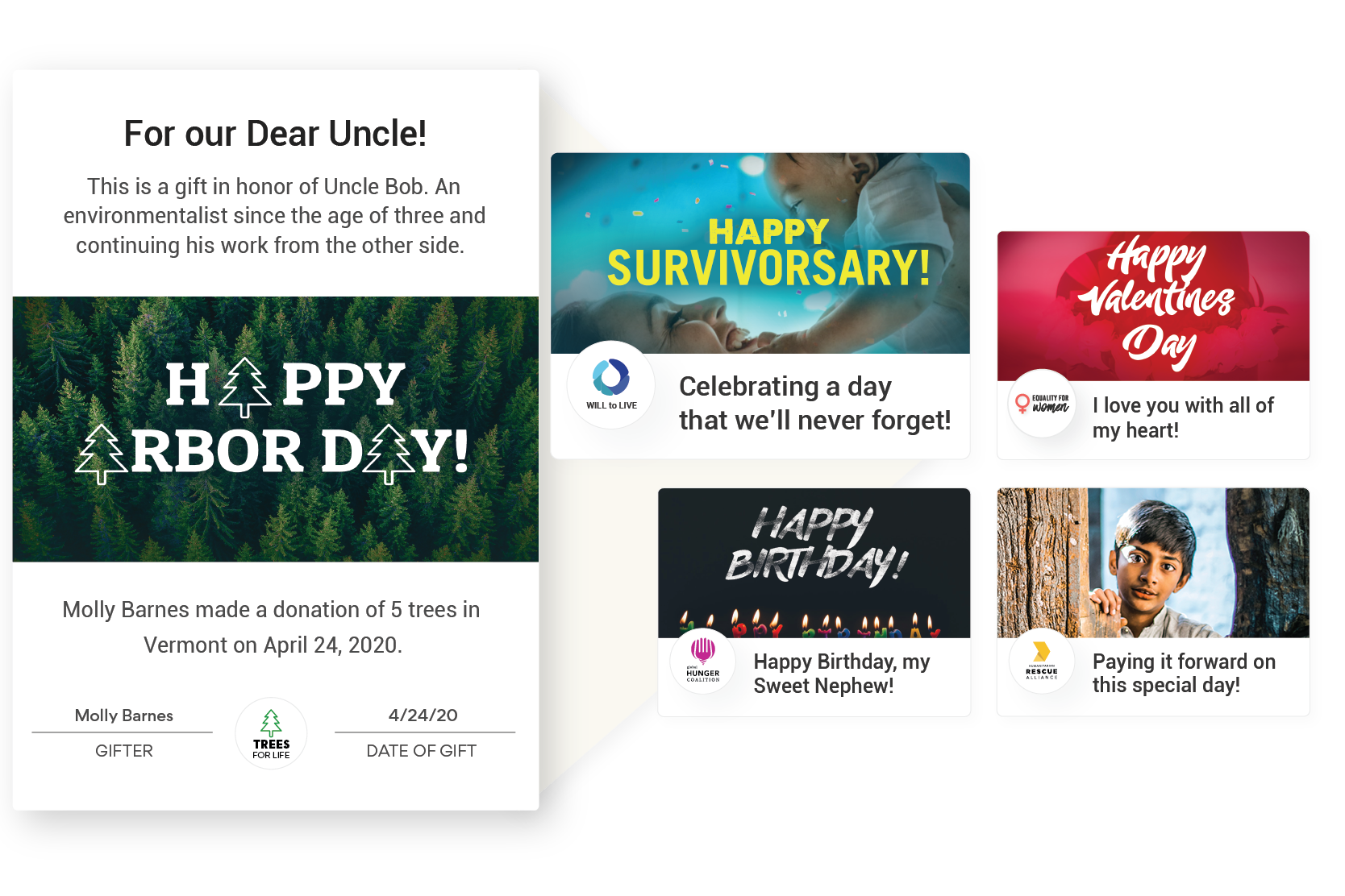 Designs for any occasion - Choose a pre-loaded card or design your own and let donors customize their message. eCards are the easiest way for supporters to involve others in their effort to make the world a better place.