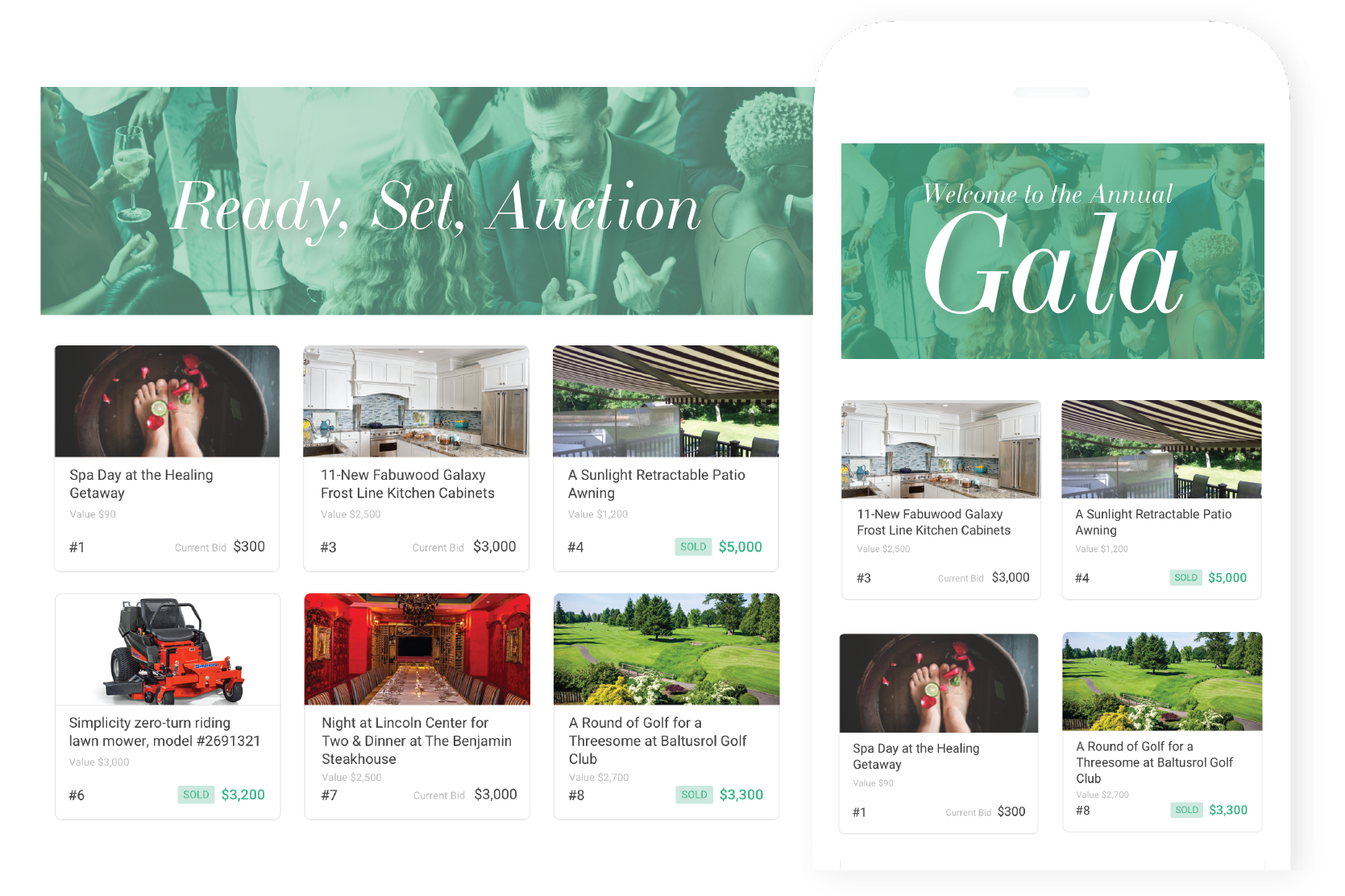 Build excitement - Get everyone excited and ready to start bidding in advance — showcase a sneak peek of your auction items with photos and starting bid amounts.
