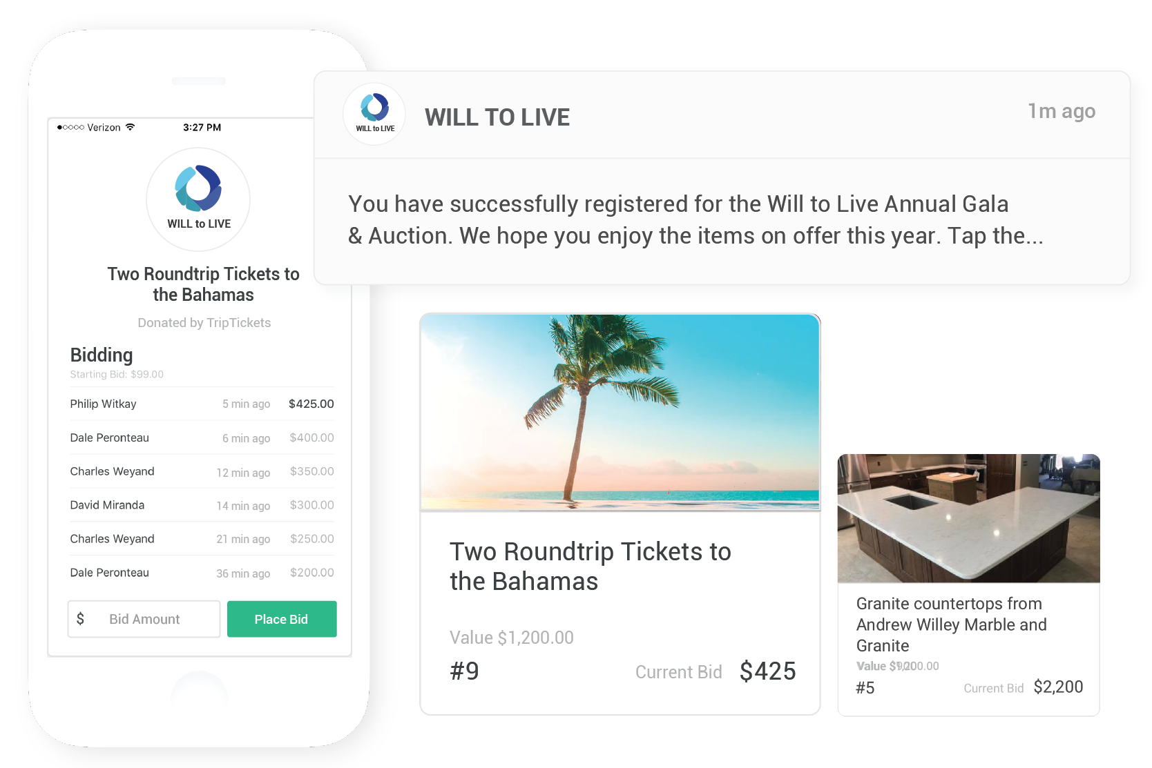 Virtual auctions from any device - Host auctions virtually so that anyone can join, no matter where they are. Our software is iPhone, Android, laptop and tablet compatible.