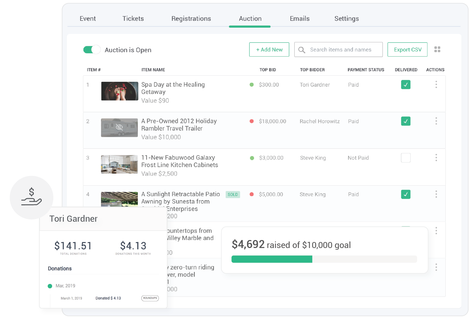 Track everything in a single database - Track bids, manage communications and acknowledge bidders from a secure database. No more endless paperwork after your auction event.