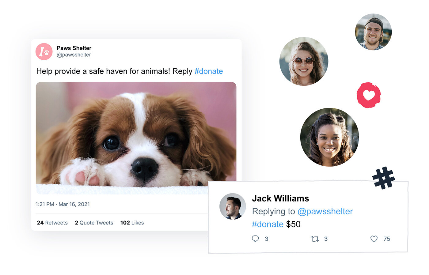 Engage & network - Reach supporters, celebrities and partners on social media. Hashtags are a fun way for them to fundraise for your mission and make an impact.