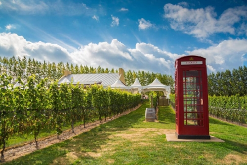 Annapolis Vallery winery Luckett Vineyards, with its red telephone booth, is a fun place to visit with kids. Credit: Tourism Nova Scotia
