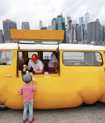 Hot Dog Bus by contemporary artist Edwin Wurm every weekend this summer in Brooklyn Bridge Park. Art meets free hot dogs - a toddler must-see!