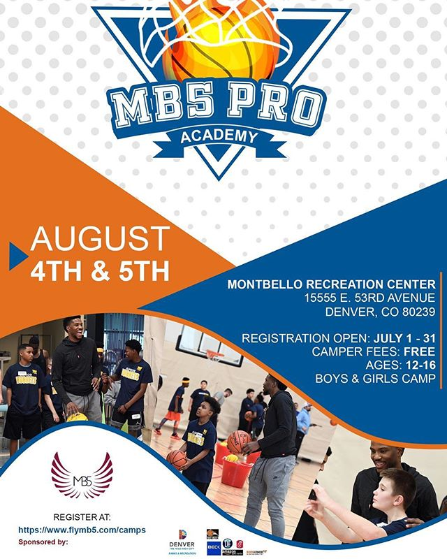 We are back again Denver! The MB5 Pro Academy basketball camp is open for registration! This is a co-ed camp, for boys and girls ages 12-16. Spots are limited. This camp is the only FREE pro skills camp this summer. Come join us. Get a cool free Nike camp tee as well. Thanks to our sponsors and team. Hit the bio for the link! See you there!