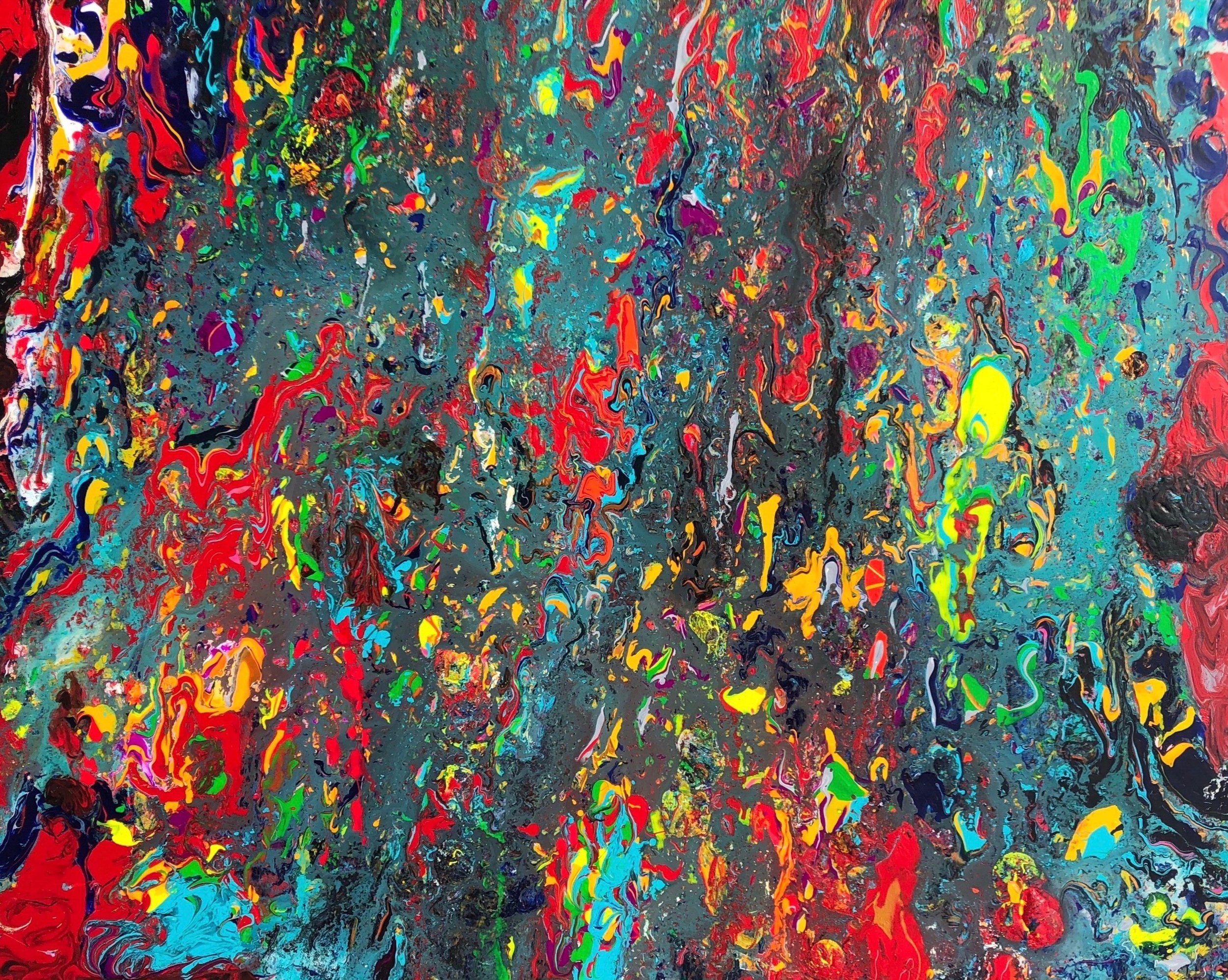 """Fire Opal"" - Mixed Media on Canvas - 48"" x 60"""