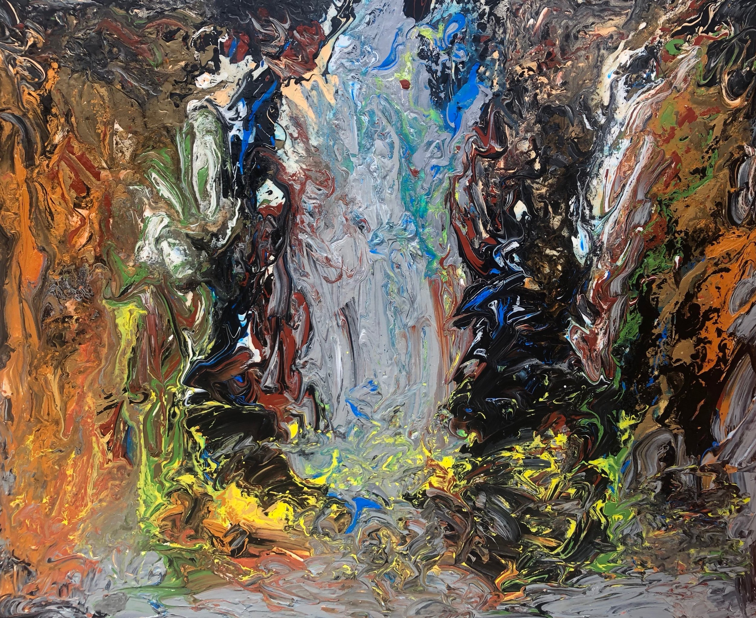 """""""Mother Earth Summoning the Spirits"""" - Mixed Media on Canvas - 48"""" x 60"""""""