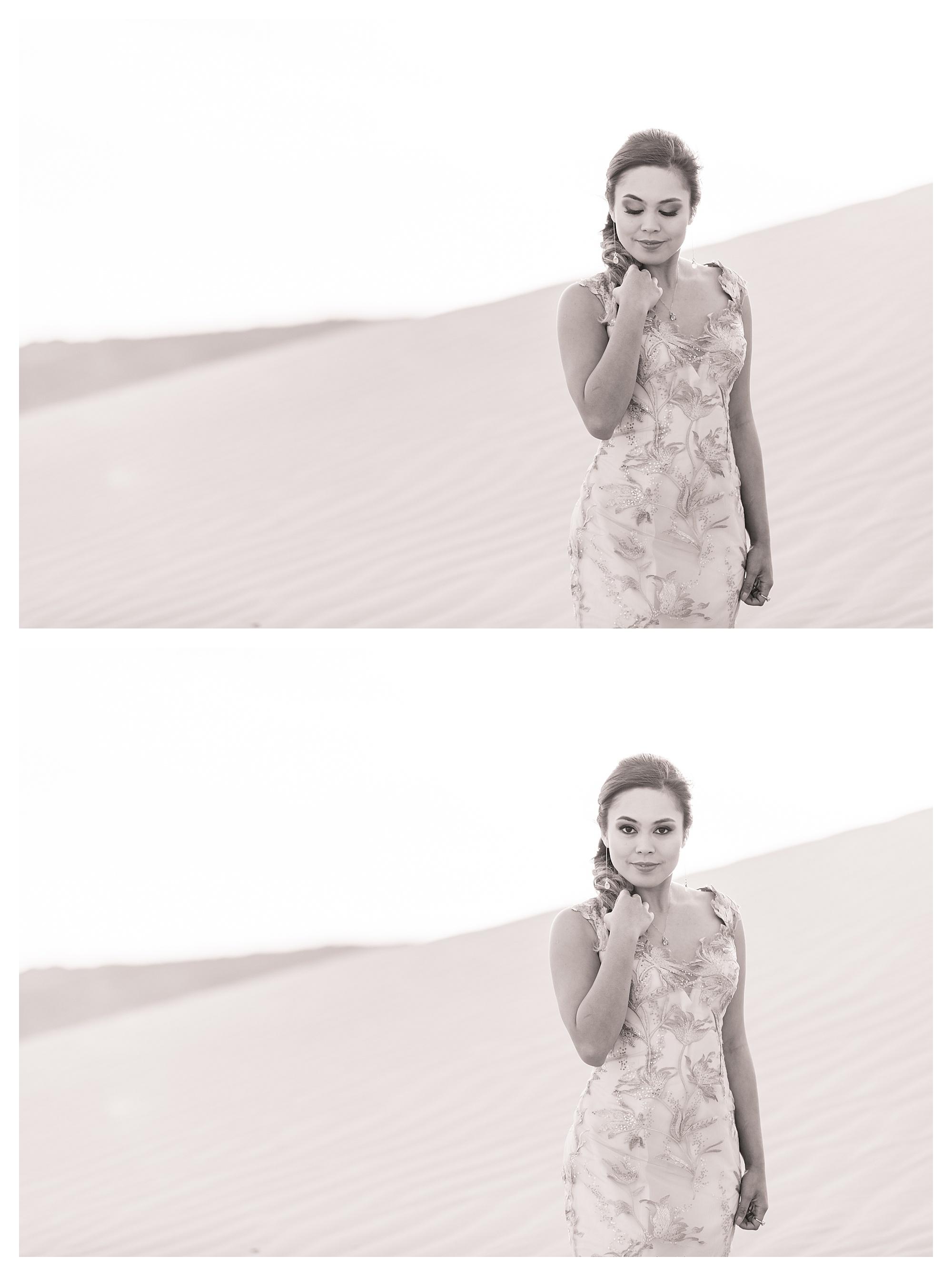 Sand Dunes Bridal Shoot B&W Black and White Photography
