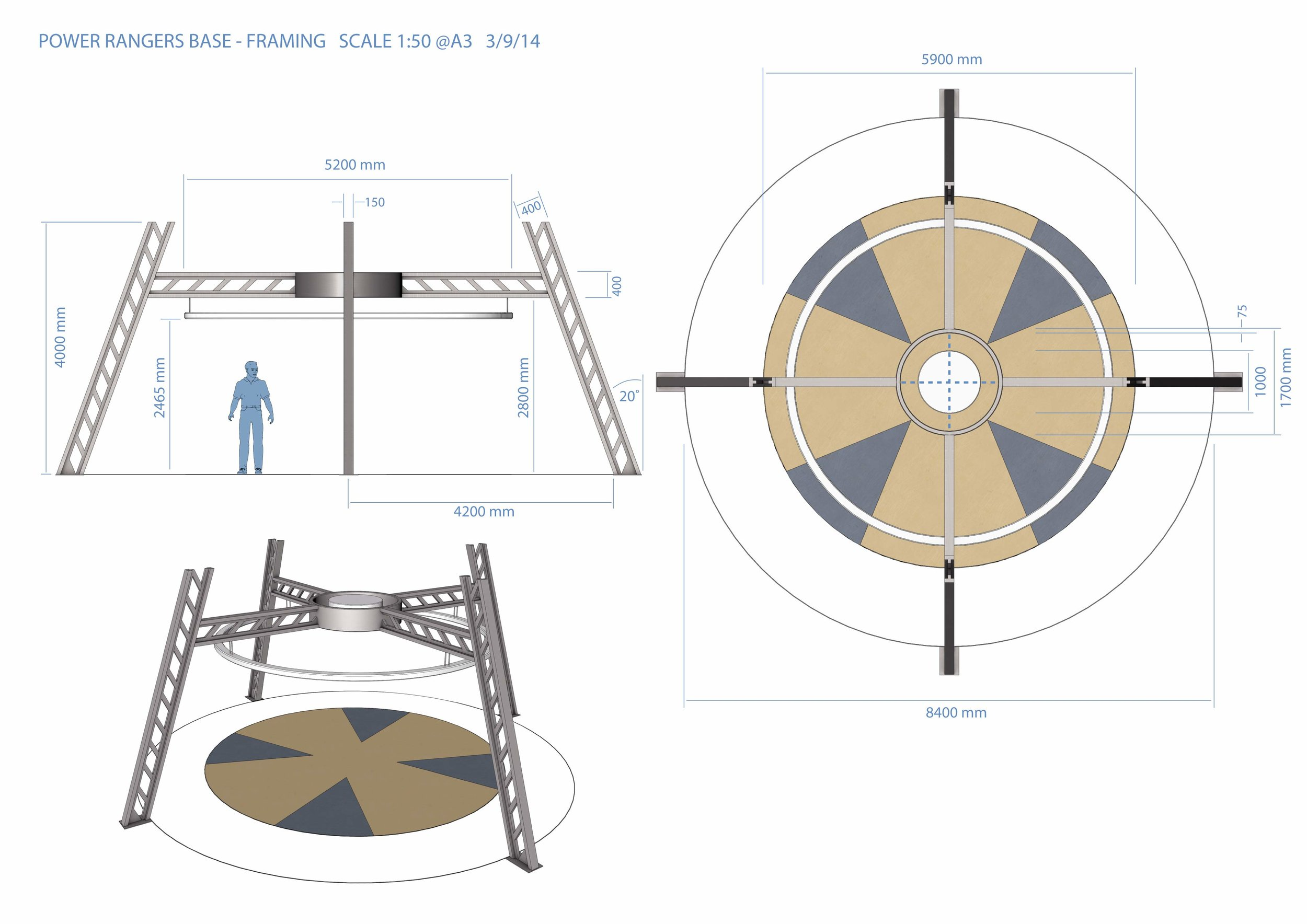 Power Ranger Base design detail drawings