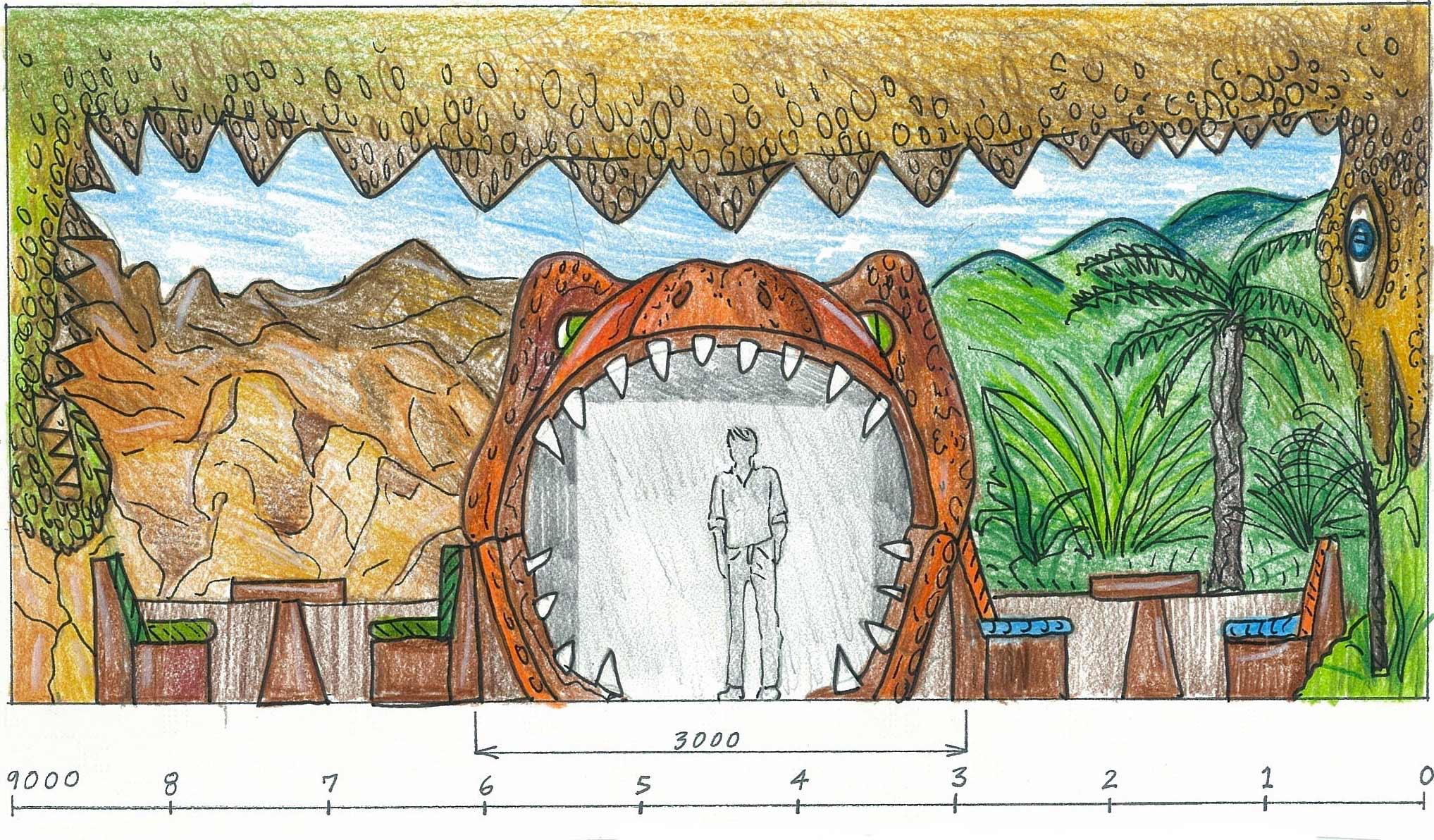 Dino Bite Cafe entrance sketch