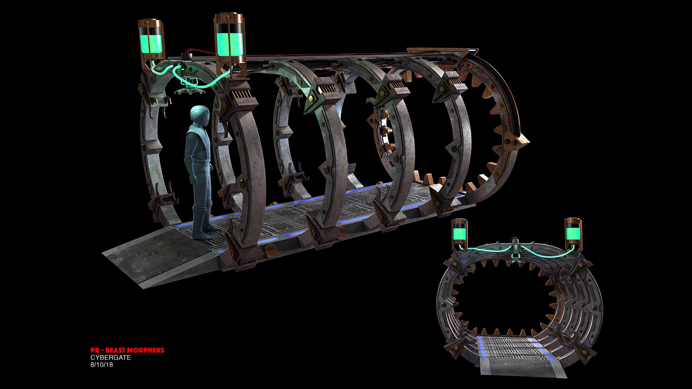 Cybergate Set Design - Concept Sketch views