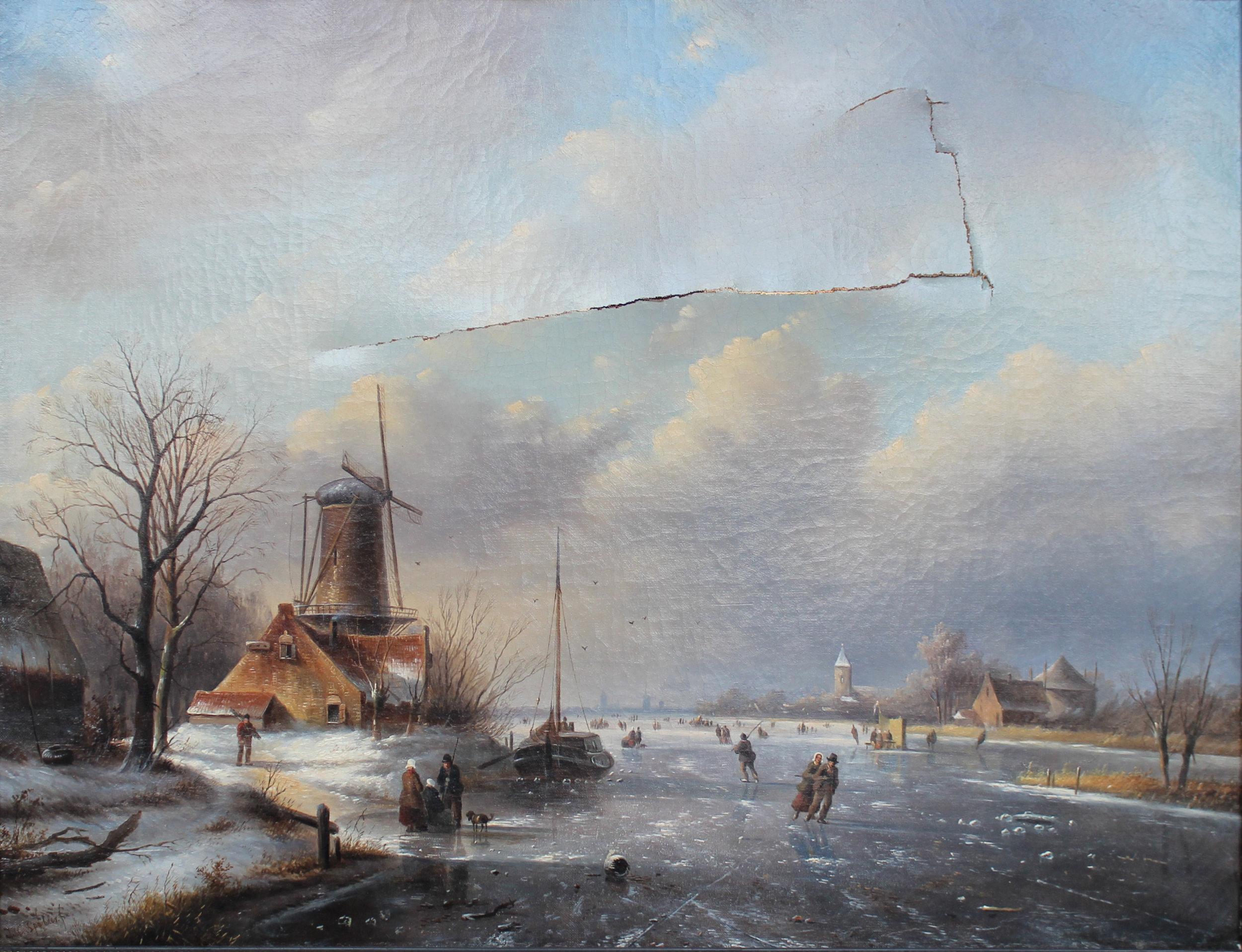 Jacob Jan Coenraad Spohler,  Winterlandscape , Ecole hollandaise, XIXe siècle, Peinture à l'huile sur toile