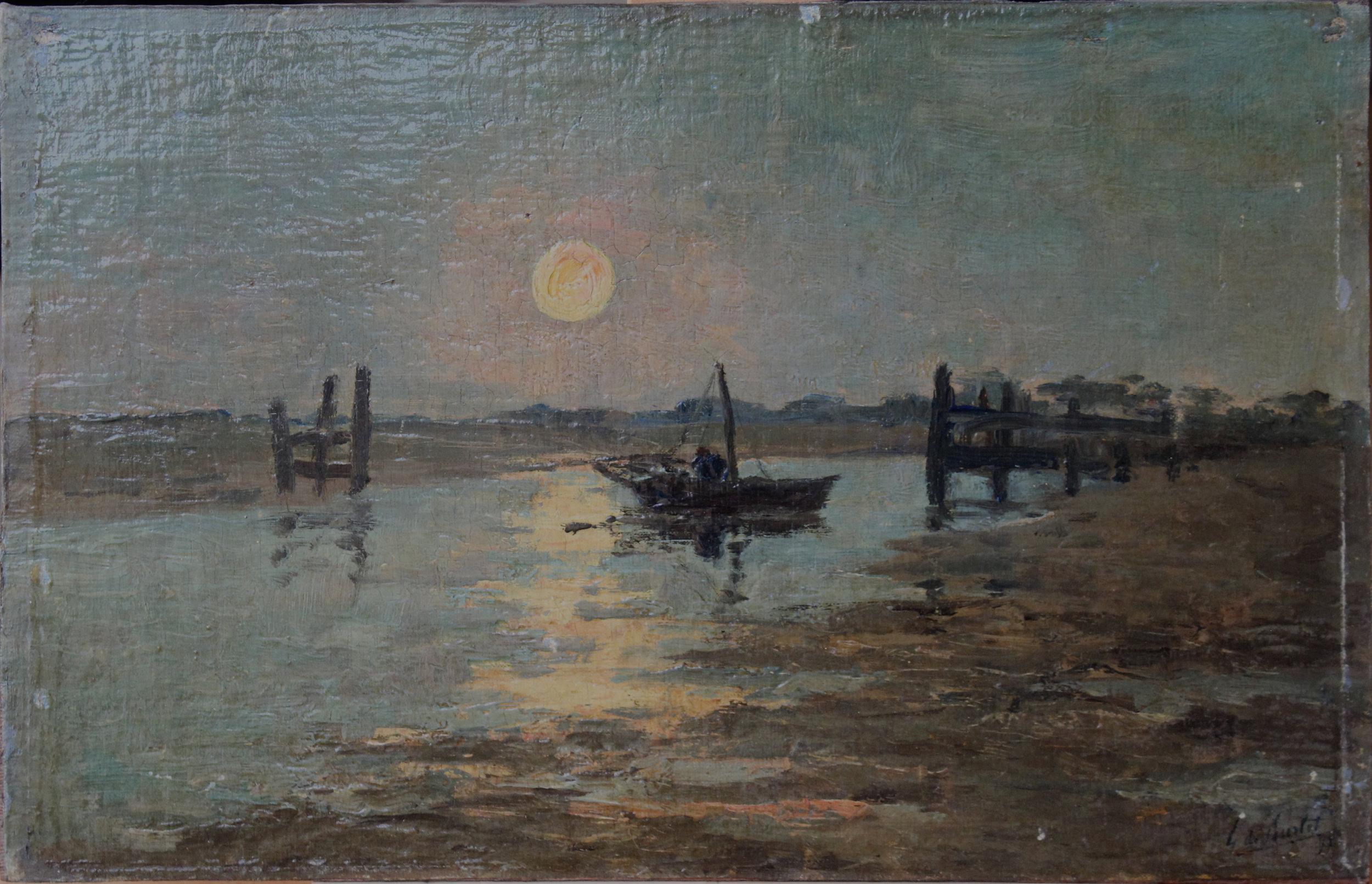 De Burlet,  Paysage , 1897, Peinture à l'huile sur panneau