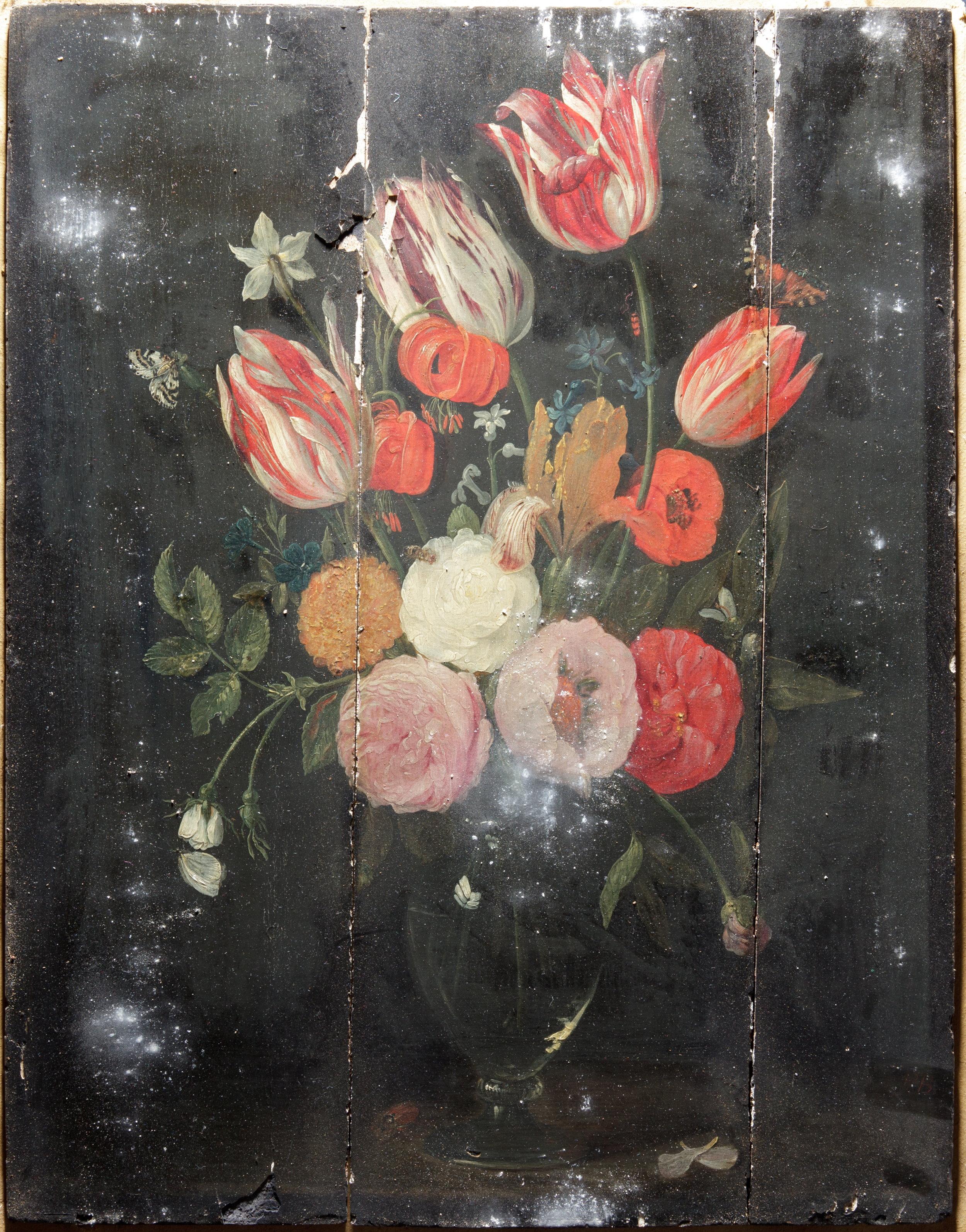 Ecole flamande,  Nature morte avec fleur , XVIIe siècle, Peinture à l'huile sur panneau de bois