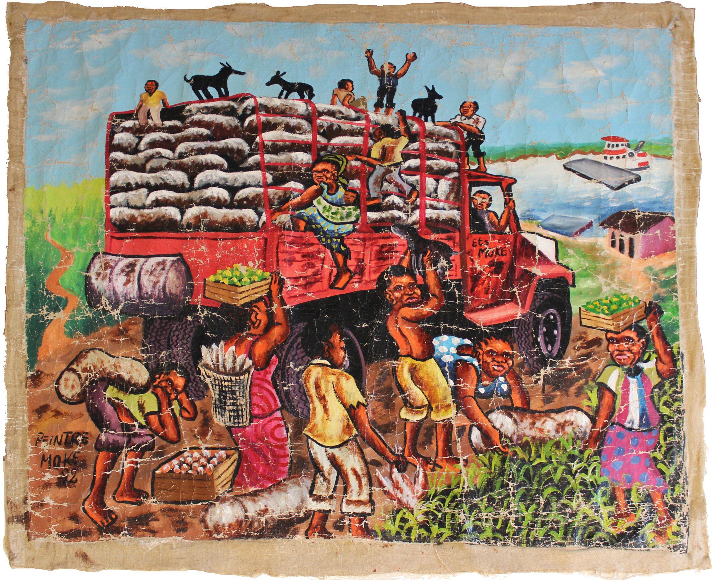 Monsengwo Kejwamfi, dit Moké,  Sans titre , 1992, Peinture à l'huile et acrylique sur toile