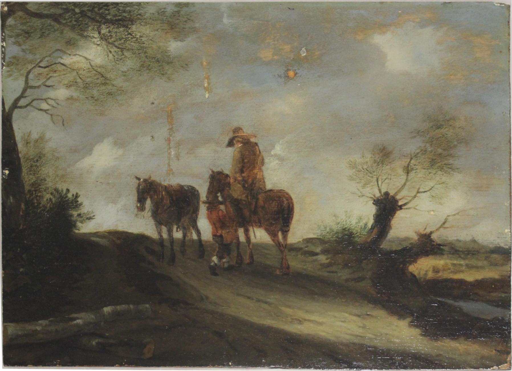 Peintre anonyme,  Paysage avec chevaux , Peinture à l'huile sur panneau