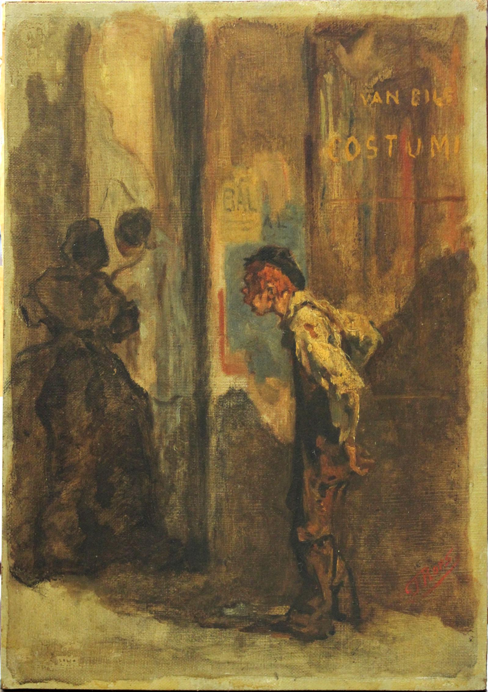 Félicien Rops,  L'Entrée au bal , 1858, Peinture à l'huile sur toile marouflée sur panneau