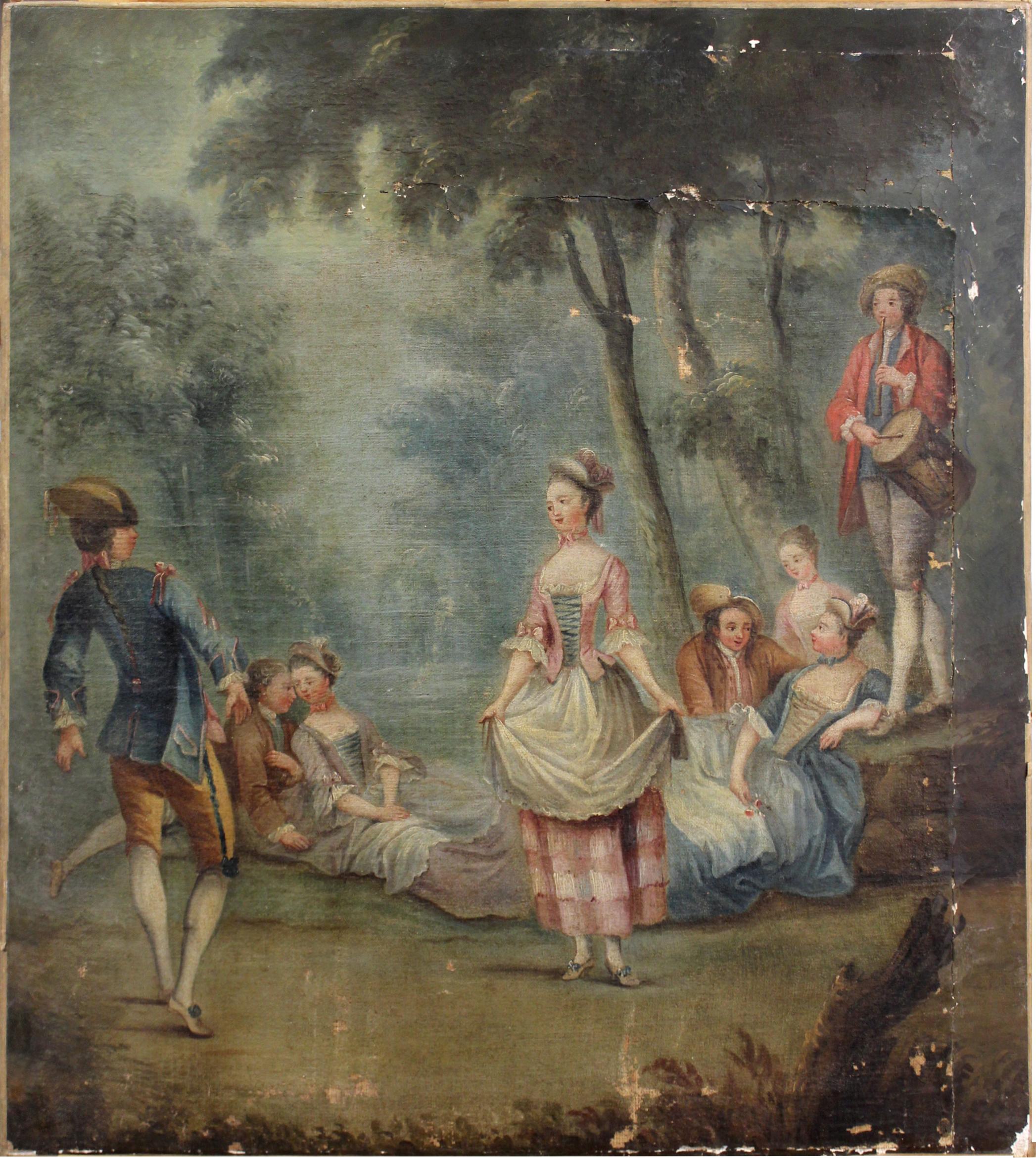 Ecole française,  Scène galante , XVIIIe, Peinture à l'huile sur toile