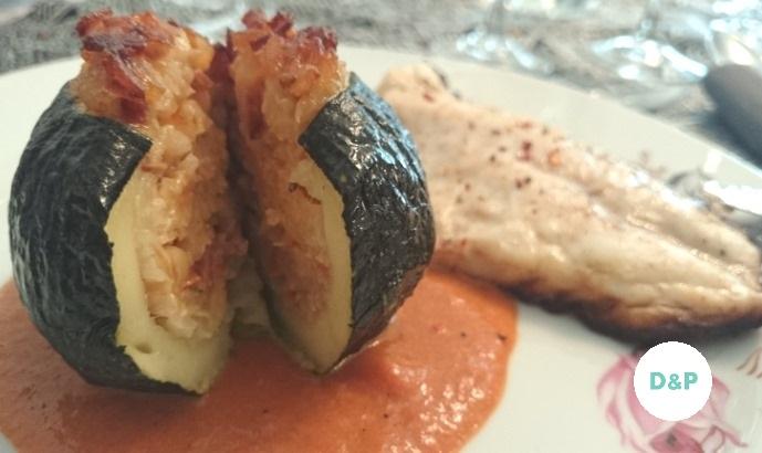 bass fillets, stuffed zucchinis, pepper cream