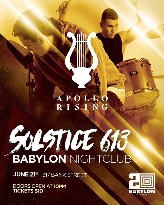 "We are excited to announce that we will be performing at ""Solstice 613""; a showcase of up-and-coming Ottawa artists. The show is Friday June 21st at @babylonnightclub Performing alongside us is: @peterjessyy @melissavalesmusic @maximemakesmusic Maxime and @lord_tazor . Hope to see you all there"