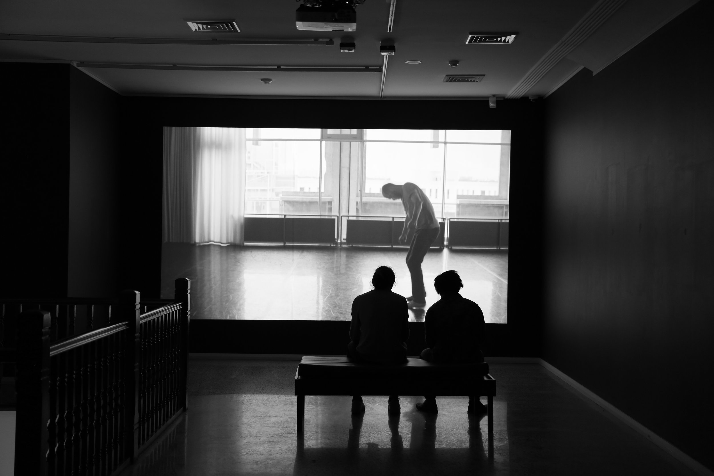 Photo of Angelica Mesiti's video work. two people watching