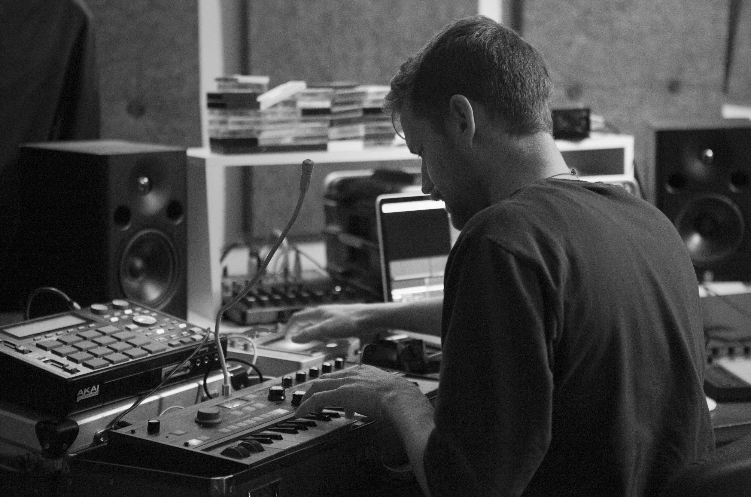 Tom working in the Barking Wolf studio in Fremantle.