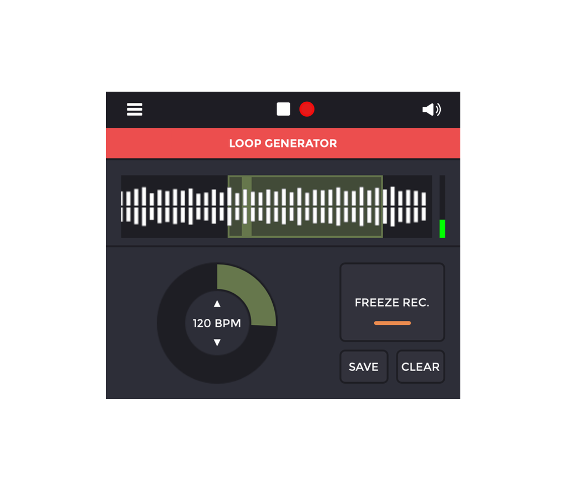 Loop your field recordings - Loops are generated automatically based on sounds around you. Each loop loop is played 4 times and then replaced by a new one. When you are satisfied with the result, press the button